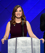 LGBT rights activist Sarah McBride makes remarks during the fourth session of the 2016 Democratic National Convention at the Wells Fargo Center in Philadelphia, Pennsylvania on Thursday, July 28, 2016.  <br /> Credit: Ron Sachs / CNP<br /> (RESTRICTION: NO New York or New Jersey Newspapers or newspapers within a 75 mile radius of New York City)