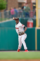 Rochester Red Wings shortstop Nick Gordon (1) throws to first base for the out during an International League game against the Buffalo Bisons on May 31, 2019 at Frontier Field in Rochester, New York.  Rochester defeated Buffalo 5-4 in ten innings.  (Mike Janes/Four Seam Images)