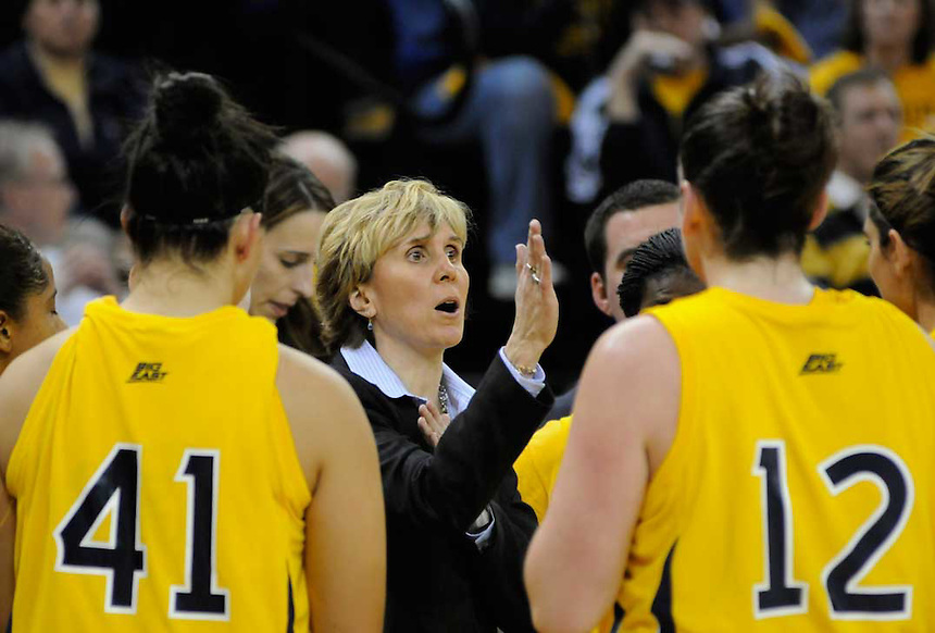 Marquette women's coach Terri Mitchell talks to her players during a time out at the McGuire Center on Saturday, Feb. 7, 2009. Marquette was playing UConn, the number one ranked team in the US.