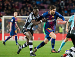 Lionel Andres Messi (R) of FC Barcelona fights for the ball with Shaquell Moore, Shaq Moore, of Levante UD during the La Liga 2017-18 match between FC Barcelona and Levante UD at Camp Nou on 07 January 2018 in Barcelona, Spain. Photo by Vicens Gimenez / Power Sport Images