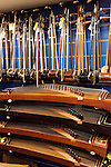 Guzheng, Chinese zither, and Erhu, Chinese fiddle, musical instruments in a store in Shanghai, China.