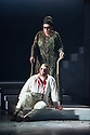 London, UK. 30.04.2014. English National Opera gives the world premiere of British composer Julian Anderson's first opera, THEBANS. Picture shows: Roland Wood (Oedipus) and Matthew Best (Tiresias). Photograph © Jane Hobson.