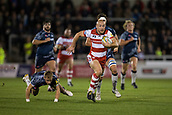 29th September 2017, AJ Bell Stadium, Salford, England; Aviva Premiership Rugby, Sale Sharks versus Gloucester; Gloucester Rugby's Willi Heinz makes a break past Sale Sharks' Mike Haley