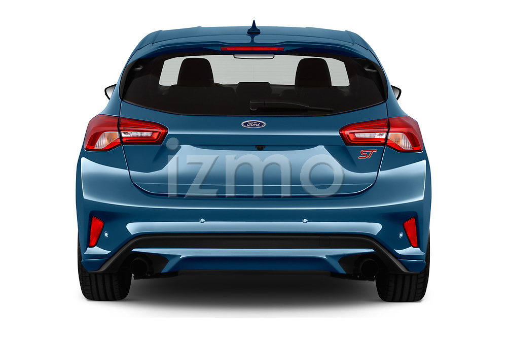 Straight rear view of a 2019 Ford Focus ST Base 5 Door Hatchback stock images