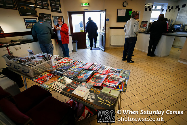 Old programmes on sale in the Stocksbridge club shop. Stocksbridge Park Steels v Pickering Town, Evo-Stik East Division, 17th November 2018. Stocksbridge Park Steels were born from the works team of the local British Steel plant that dominates the town north of Sheffield.<br />