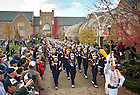 Oct. 29, 2011; The Notre Dame Marching Band marches through the Law School arch on their way to the stadium...Photo by Matt Cashore