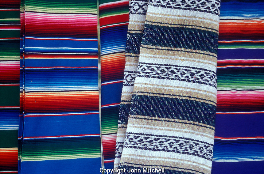 Colourful Mexican blankets for sale in in Puerto Morelos, Quintana Roo, Mexico