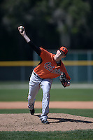 Baltimore Orioles pitcher Nik Nowottnick (82) during a minor league spring training game against the Boston Red Sox on March 18, 2015 at the Buck O'Neil Complex in Sarasota, Florida.  (Mike Janes/Four Seam Images)