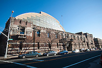Originally the Troop C Armory, then the 42nd Supply and Transport Battalion New York National Guard Armory and now the Bedford-Union Armory in the Crown Heights neighborhood of Brooklyn on Monday, January 9, 2012.The massive 1908 building, designed by Pilcher, Thomas and Tachau is no longer used by the National Guard and plans are being developed by the community to determine  its future use. The building has housed film shoots, Orthodox Jewish dinners and a homeless shelter in the past. Neighborhood activists are pushing for the building to be turned into a community center. (© Richard B. Levine)
