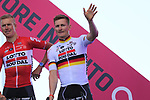 Marcel Sieberg and Andre Greipel (GER) Lotto-Soudal at the Team Presentation in Alghero, Sardinia for the 100th edition of the Giro d'Italia 2017, Sardinia, Italy. 4th May 2017.<br /> Picture: Eoin Clarke | Cyclefile<br /> <br /> <br /> All photos usage must carry mandatory copyright credit (&copy; Cyclefile | Eoin Clarke)