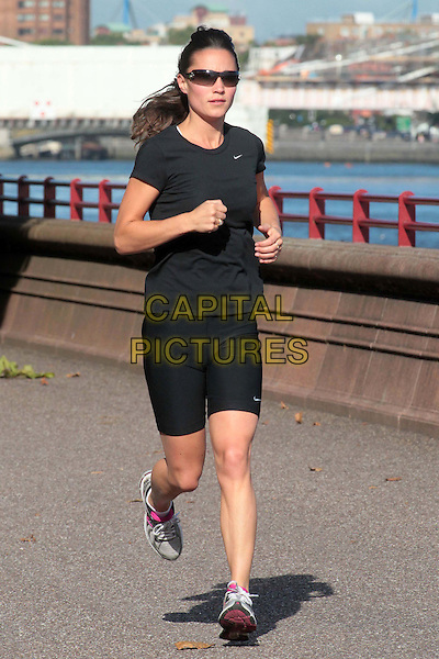 Pippa Middleton on her morning run,.London, England..July 22nd, 2011.full length exercise black shorts t-shirt spandex sunglasses shades sneakers trainers .CAP/HIL.©John Hillcoat/Capital Pictures .