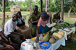 KENYA, Kaimosi, NGO RSP Rural Service Programme promote farming of traditional crops and crop diversity for healthy nutrition amongst small scale farmers, farmer training, different vegetables and seeds/ KENIA, Kisumu County, Kaimosi, NGO RSP Rural Service Programme, Unterstuetzung von Kleinbauern beim biologischen Anbau von traditionellen Sorten, Sortenvielfalt und Verbesserung einer gesunden Ernaehrung, Dorf Budira, Ernaehrungsberatung durch RSP Mitarbeiter, verschiedene Gemuesesorten und Saatgut