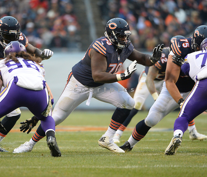 Chicago Bears Michael Ola (70) during a game against the Minnesota Vikings on November 16, 2014 at Soldier Field in Chicago, IL. The Bears beat the Vikings 21-13.