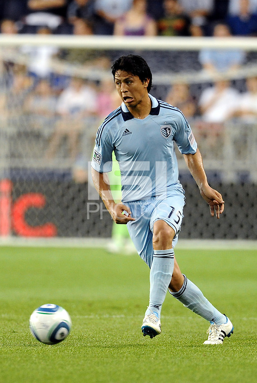 Roger Espinoza Sporting KC midfielder in action... Sporting KC defeated Vancouver Whitecaps 2-1 at LIVESTRONG Sporting Park, Kansas City, Kanas.
