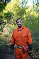 Isola di Pianosa.Pianosa Island.Andrea Romano, volontario del servizio antincendio boschivo dell' associazione La Racchetta.Volunteer fire fighting service of  The Racket Association..