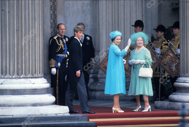 Queen Elizabeth II with the Queen Mother and Prince Philip at Prince Charles & Princess Diana's wedding, London, UK, July 29, 1981