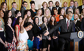 United States President Barack Obama acknowledges the 2016 National Teacher of the Year Jahana Hayes of Connecticut during an event in the East Room of the White House on May 3, 2016 in Washington D.C.<br /> Credit: Olivier Douliery / Pool via CNP