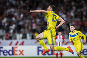 14th September 2017, Red Star Stadium, Belgrade, Serbia; UEFA Europa League Group stage, Red Star Belgrade versus BATE; Forward Nikolai Signevich of FC BATE Borisov celebrates his goal