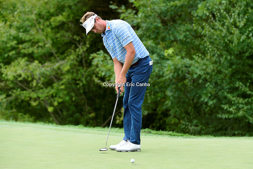 Saturday, September 3, 2016:  Harris English putts on the on the fifth green during the second round of the Deutsche Bank Championship tournament held at the Tournament Players Club, in Norton, Massachusetts.  Eric Canha/Cal Sport Media