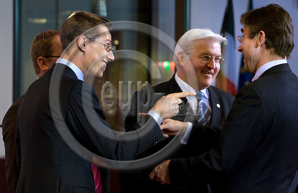 BRUSSELS - BELGIUM - 10 DECEMBER 2008 --  EU Summit hosted by the French Presidency.  --  Family photo session. --- Urmas PAET (le) Minister of Foreign Affairs of Estonia, Alexander STUBB, Minister of Foreign Affairs of Finland, Frank-Walter STEINMEIER, Minister of Foreign Affairs of Germany and Borut PAHOR (ri) Prime Minister of Slovenia.  -- PHOTO: JUHA ROININEN / EUP-IMAGES