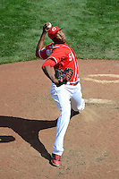 Cincinnati Reds pitcher Aroldis Chapman #54 during a game against the Miami Marlins at Great American Ball Park on April 20, 2013 in Cincinnati, Ohio.  Cincinnati defeated Miami 3-2 in 13 innings.  (Mike Janes/Four Seam Images)