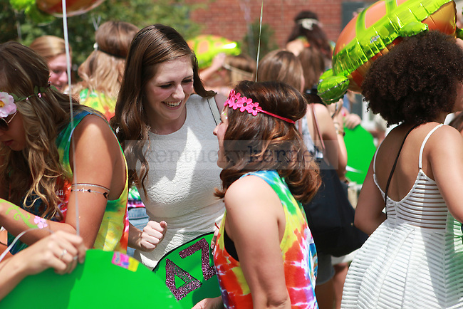 Members of Delta Zeta greet each other at sorority bid day in Lexington, Ky., on Friday, August 21,  2015. Photo by Emily Wuetcher | Staff