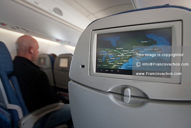 Air Canada In-flight Entertainment system shows real-time flight of a plane approaching Montreal airport Monday May 30, 2011. Air Canada In-flight Entertainment includes 300 hours of on-demand entertainment: XM Satellite Radio, movies, TV shows, sports and games.