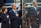 United States President Barack Obama, First Lady Michelle Obama, former U.S. President George W. Bush and former First Lady Laura Bush attend the Commemoration Ceremony at the National September 11 Memorial at the World Trade Center Site in New York, New York on September 11, 2011. The President and First Lady are also visiting the Pentagon and the crash site of Flight 93 in Shanksville Pennsylvania in a series of events to commemorate the 10th anniversary of the attacks. .Credit: Kristoffer Tripplaar / Pool via CNP