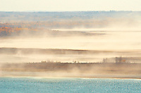 Wind picking up saline dust from saline sloughs<br /> Near Paynton<br /> Saskatchewan<br /> Canada