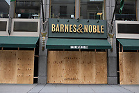NEW YORK, NEW YORK - JUNE 2: A book store is boarded up after a night of looting on stores due to protest on June 2, 2020 in New York City. Protests spread across the country in at least 30 cities across the United States, over the death of unarmed black man George Floyd at the hands of a police officer, this is the latest death in a series of police deaths of black Americans. New York face it's second night of a curfew (Photo by Joana Toro / VIEWpress via Getty Images)