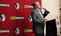 TALLAHASSEE, FLA. 2/2/11-FSUSIGN020211CH- Head Coach Jimbo Fisher talks about his latest recruiting class during the 2011 national signing day war party in Tallahassee...COLIN HACKLEY PHOTO