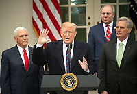 United States President Donald J. Trump makes a statement following his meeting with Democratic leaders in the Situation Room of the White House in Washington, DC in an effort to break the political impasse on border security and reopen the federal government on Friday, January 4, 2019. The President also took questions from reporters. Looking on, from left to right, are: US Vice President Mike Pence, US House Minority Whip Steve Scalise (Republican of Louisiana), and US House Minority Leader Kevin McCarthy (Republican of California).<br /> CAP/MPI/RS<br /> &copy;RS/MPI/Capital Pictures