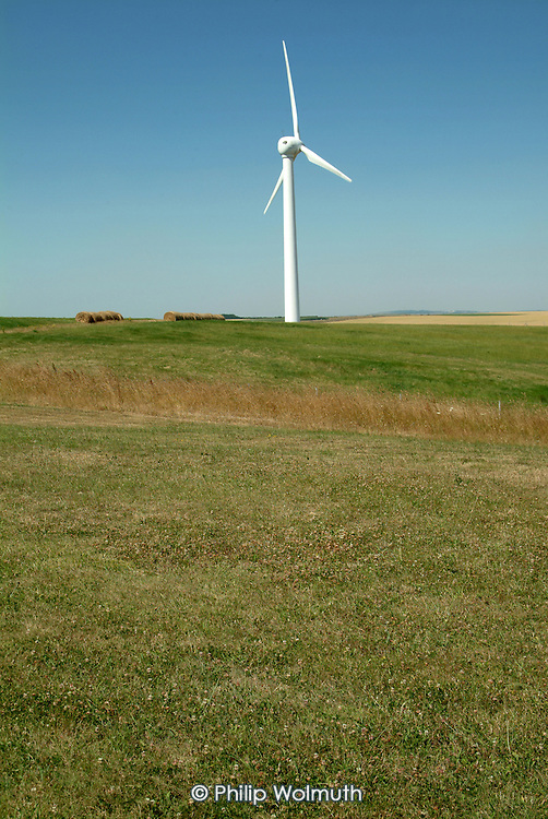 A wind farm on agricultural land in the Pas de Calais, northern France.
