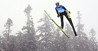 Germany's Andreas Wank makes a practice jump during the ski jumping individual training session at the XXI Olympic Winter Games at the Whistler Olympic Park in Whistler, British Columbia, February 10, 2010.