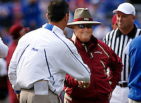 GAINESVILLE, FL 11/28/09-FSU-UF FB09 CH67-Florida State Head Coach Bobby Bowden, right, meets Florida Head Coach Urban Meyer prior to the game Saturday at Florida Field in Gainesville. .COLIN HACKLEY PHOTO