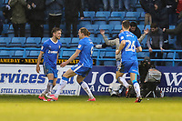 Tom Eaves of Gillingham (centre) celebrates after he scores his team's first goal of the game to make the score 1-1 during the Sky Bet League 1 match between Gillingham and Fleetwood Town at the MEMS Priestfield Stadium, Gillingham, England on 27 January 2018. Photo by David Horn.