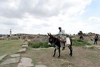 JENDOUBA , TUNISIA - SETTEMBRE 21:Bulla Regia, il sito archeologico nella Tunisia nord-occidentale, antica città romana. È nota per le sue abitazioni semisotterranee di epoca adriana, e i suoi mosaici.<br /> Gli abitanti dei vicino villaggio arrivano nel sito archeologico per prendere acqua potabile con gli asini