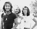 Bee Gees July 1978 Barry Gibb, Maurice Gibb and Robin Gibb on the Sgt. Pepper film set