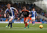 Liam O'Neill of Chesterfield and Billy Sharp of Sheffield Utd during the English League One match at the Proact Stadium, Chesterfield. Picture date: November 13th, 2016. Pic Simon Bellis/Sportimage