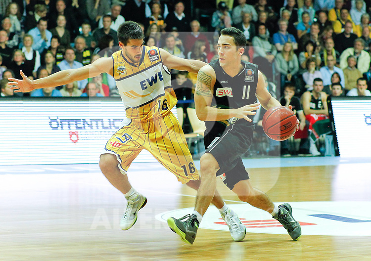 15.10.2010, EWE Arena, Oldenburg, GER, 1.BBL, EWE Baskets vs. LTi Giessen 46ers,  im Bild: Tyler Kepkay (Giessen 46ers CAN #11 Guard) vs Nemanja Protic (EWE Baskets SRB #16 Guard), Foto © nph / Scholz