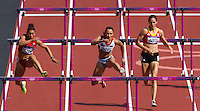 03 AUG 2012 - LONDON, GBR - Jessica Ennis (GBR) (centre) of Great Britain clears a hurdle during her heat in the women's heptathlon at the London 2012 Olympic Games athletics in the Olympic Stadium in the Olympic Park in Stratford, London, Great Britain .(PHOTO (C) 2012 NIGEL FARROW)