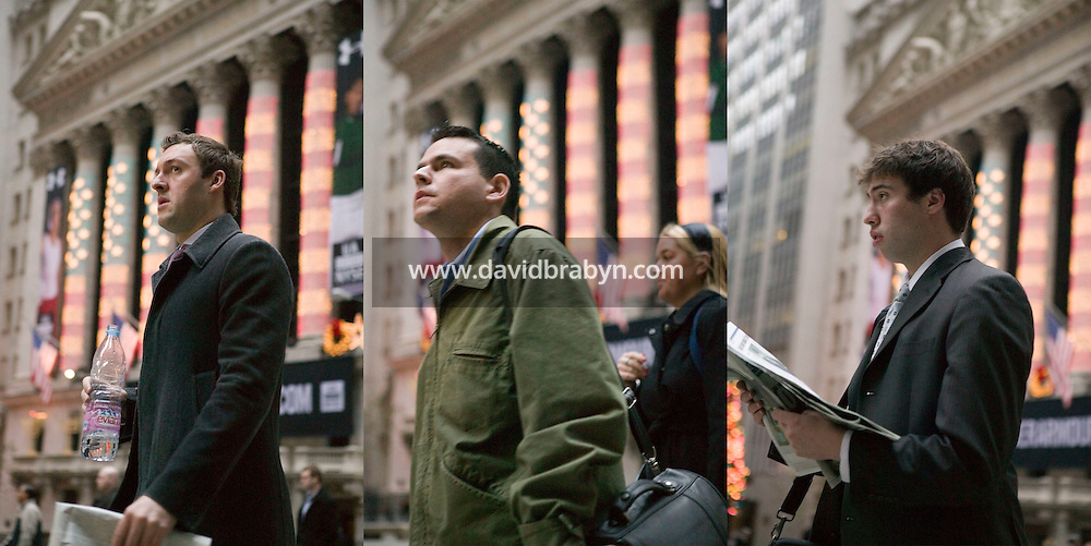 18 December 2006 - New York City, NY - Photo illustration of three jioned images showing people walk by the New York Stock Exchange in the financial district of Manhattan in New York City, NY, as offices open, 18 December 2006.