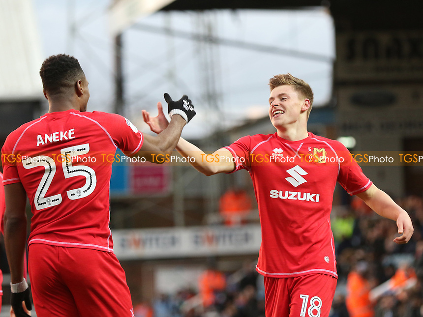 Harvey Barnes celebrates scoring MK Dons opening goal with Chuks Aneke during Peterborough United vs MK Dons, Sky Bet EFL League 1 Football at London Road on 28th January 2017