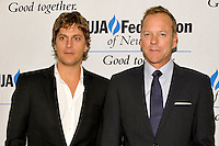 NEW YORK - JULY 12:  (L to R) Musician Rob Thomas and actor Kiefer Sutherland attend the UJA-Federation Music Visionary of the Year Award Luncheon at the Pierre Hotel on July 12, 2012 in New York City. (Photo by MPI81/MediaPunchInc) /*NORTEPHOTO*<br />
