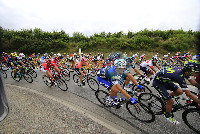 Riders including Marcel Kittel (GER) Etixx-Quick Step pass through Segre during Stage 3 of the 2016 Tour de France, running 223.5km from Granville to Angers, France . 4th July 2016.<br /> Picture: Eoin Clarke | Newsfile<br /> <br /> <br /> All photos usage must carry mandatory copyright credit (&copy; Newsfile | Eoin Clarke)