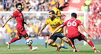 Wolverhampton Wanderers' Jonathan Castro Otto gets away from Liverpool's Trent Alexander-Arnold<br /> <br /> Photographer Rich Linley/CameraSport<br /> <br /> The Premier League - Liverpool v Wolverhampton Wanderers - Sunday 12th May 2019 - Anfield - Liverpool<br /> <br /> World Copyright © 2019 CameraSport. All rights reserved. 43 Linden Ave. Countesthorpe. Leicester. England. LE8 5PG - Tel: +44 (0) 116 277 4147 - admin@camerasport.com - www.camerasport.com