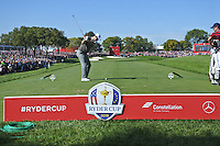 Justin Rose (ENG) (Team Europe) on the 17th tee during Saturday morning foursomes at the Ryder Cup, Hazeltine National Golf Club, Chaska, Minnesota, USA.  01/10/2016<br /> Picture: Golffile | Fran Caffrey<br /> <br /> <br /> All photo usage must carry mandatory copyright credit (&copy; Golffile | Fran Caffrey)