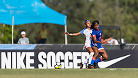 Bradenton, FL - Sunday, June 10, 2018: Milan Pierre, Samantha Meza during a U-17 Women's Championship match between the United States and Haiti at IMG Academy.  USA defeated Haiti 3-2 to advance to the finals.