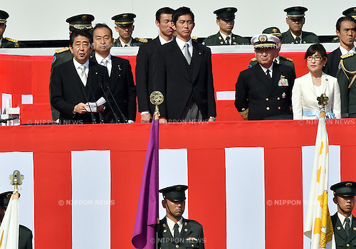 October 23, 2016, Asaka, Japan - Japanese Prime Minister Shinzo Abe in formal attire delivers an admonition during an annual Armed Forces Day celebration in honor of Japans defense forces at the Ground Self-Forces parade ground in Asaka, outside of Tokyo, on Sunday, October 23, 2016. (Photo by Natsuki Sakai/AFLO) AYF -mis-