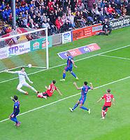 Lincoln City's Tyler Walker scores his side's second goal, putting the ball past Sunderland's Jon McLaughlin<br /> <br /> Photographer Chris Vaughan/CameraSport<br /> <br /> The EFL Sky Bet League One - Lincoln City v Sunderland - Saturday 5th October 2019 - Sincil Bank - Lincoln<br /> <br /> World Copyright © 2019 CameraSport. All rights reserved. 43 Linden Ave. Countesthorpe. Leicester. England. LE8 5PG - Tel: +44 (0) 116 277 4147 - admin@camerasport.com - www.camerasport.com